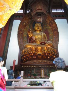 China's largest wooden Buddha, Lingyin Si near HAngzhou