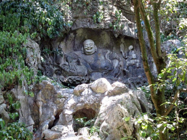 China's first laughing Buddha, Felai Feng Gottoes, Lingyin Temple, Zhejiang