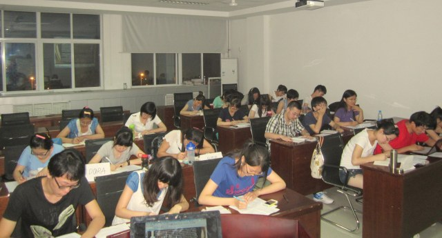My students, writing.