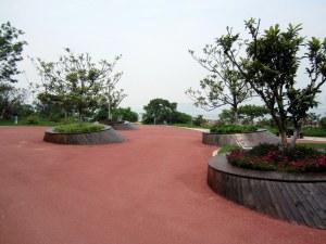 weird red landscaping