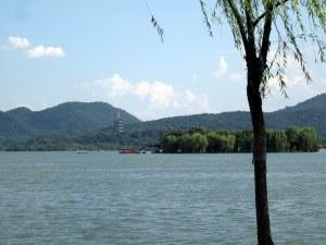 west lake island pagoda view