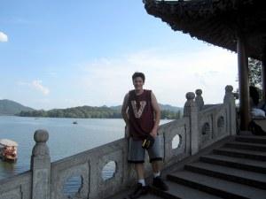 west lake kenny on bridge stairs