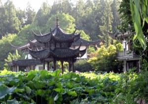 West Lake, Hangzhou: lotus and pavillion off Su Causeway