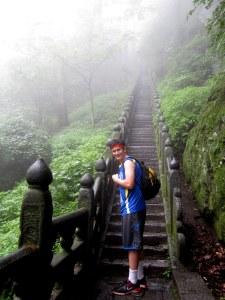 kenny climbing stairs to golden peak